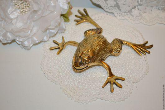 Декупаж и роспись ручной работы. Ярмарка Мастеров - ручная работа. Купить фигурка, статуэтка латунная золотая денежная лягушка. Handmade.