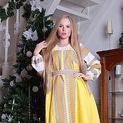 Одежда ручной работы. Ярмарка Мастеров - ручная работа Сарафан косоклинный желтый. Handmade.