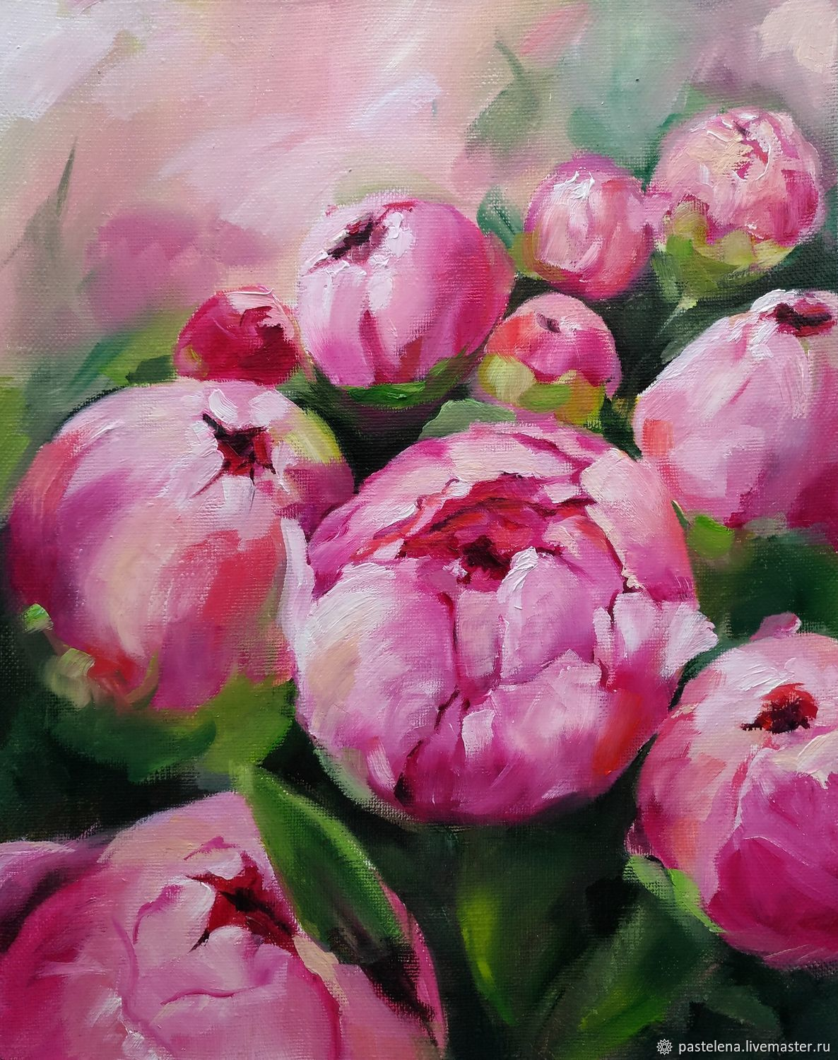 Oil painting Peonies (pink green flowers), Pictures, ,  Фото №1