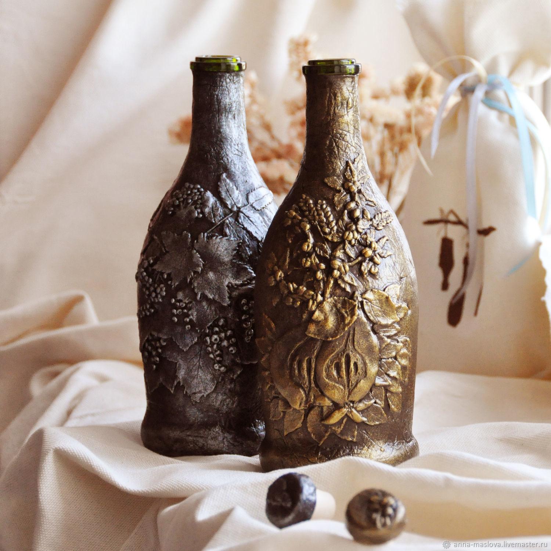 Декоративная посуда ручной работы. Ярмарка Мастеров - ручная работа. Купить Набор из 2-х бутылок Ягодная и Фруктовая, бежевый. Handmade.