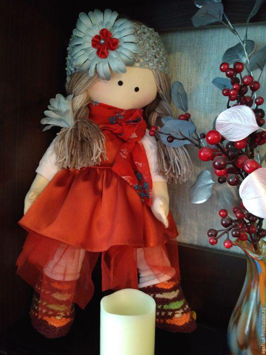 Коллекционные куклы ручной работы. Ярмарка Мастеров - ручная работа. Купить Текстильная интерьерная кукла В красном. Handmade. хлопок
