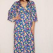 Одежда ручной работы. Ярмарка Мастеров - ручная работа Ярко-синее Платье в русском стиле платье кимоно Платье в цветочек. Handmade.