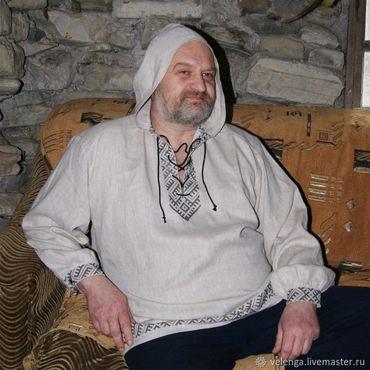 Одежда ручной работы. Ярмарка Мастеров - ручная работа Славянская рубашка с вышивкой с капюшоном Жива. Handmade.