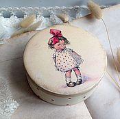 Для дома и интерьера ручной работы. Ярмарка Мастеров - ручная работа Платьице в горошек - круглая шкатулочка. Handmade.