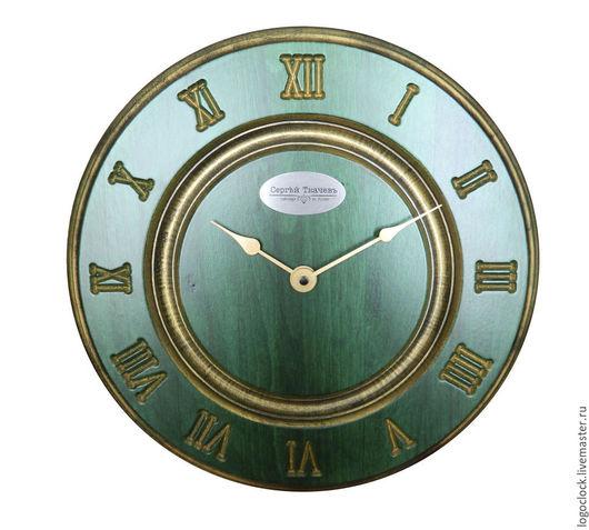 Часы для дома ручной работы. Ярмарка Мастеров - ручная работа. Купить Настенные часы. Зеленый бук. Старое золото. Раз.. Handmade.