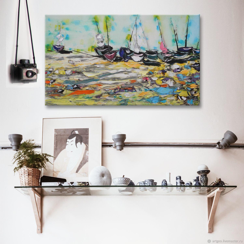 """85х50 см картина для интерьера в стиле лофт """"Лодки на песке"""", Картины, Санкт-Петербург,  Фото №1"""