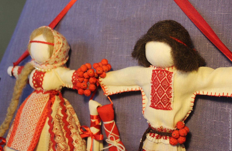 """Купить Кукла-оберег """"Неразлучники"""" - ярко-красный, куклы обереги, народная кукла, неразлучники"""