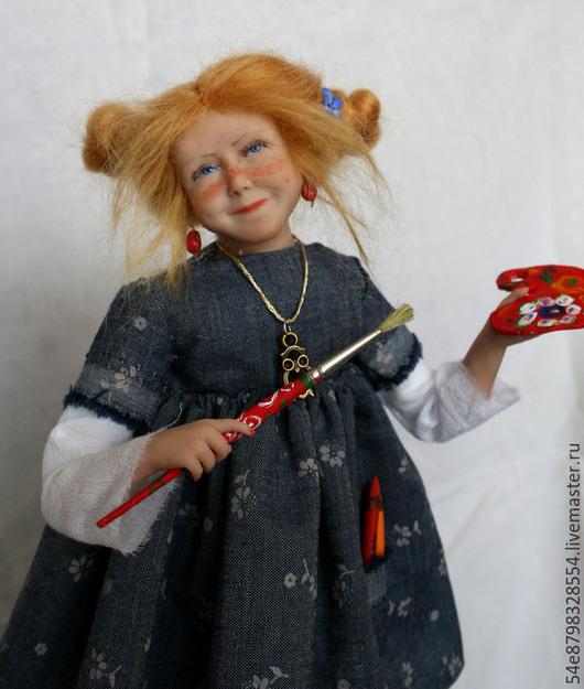 """Коллекционные куклы ручной работы. Ярмарка Мастеров - ручная работа. Купить """"художница"""". Handmade. Разноцветный, ливингдол"""