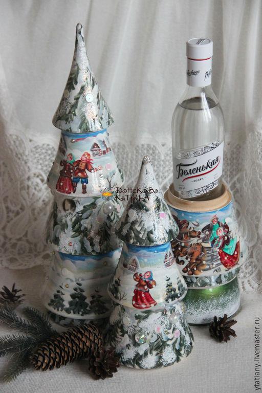 Новый год 2017 ручной работы. Ярмарка Мастеров - ручная работа. Купить Музыкальная и обычная елка- бутылочница. Handmade. Бутылка в подарок