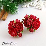 Украшения handmade. Livemaster - original item Set with red tea roses. Handmade.