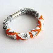 Украшения ручной работы. Ярмарка Мастеров - ручная работа Браслет жгут из бисера - Бисерный жгут оранжево-серый браслет. Handmade.
