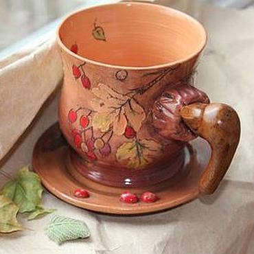 Посуда ручной работы. Ярмарка Мастеров - ручная работа Чашка с блюдцем Осенне-ягодная. Handmade.