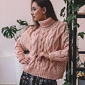 Одежда handmade. Livemaster - original item Jerseys: Sweater with large braids in the color of powder oversize. Handmade.
