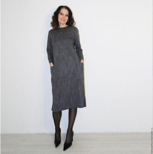 Платья ручной работы. Ярмарка Мастеров - ручная работа. Купить Платье повседневное офисное. Handmade. Темно-серый, платье миди