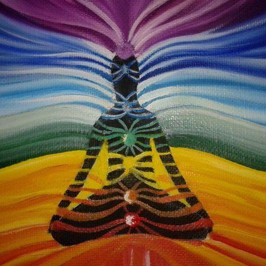 Этно ручной работы. Ярмарка Мастеров - ручная работа. Купить Чакры подарок для йога). Handmade. Красный, холст на подрамнике, лотос