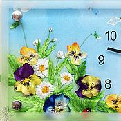 Для дома и интерьера handmade. Livemaster - original item Handmade embroidered clock Heartseases. Handmade.