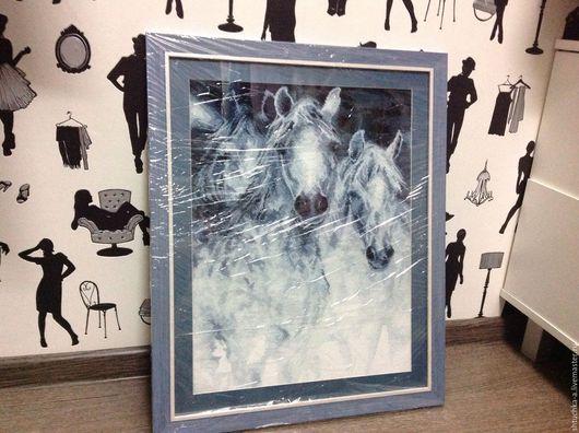"""Животные ручной работы. Ярмарка Мастеров - ручная работа. Купить Вышивка """"лошади"""". Handmade. Голубой, подарок, Вышивка крестом"""