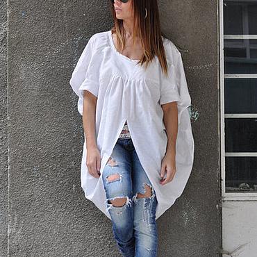 Одежда ручной работы. Ярмарка Мастеров - ручная работа Нарядная блузка из хлопка на лето - TP0494CT. Handmade.