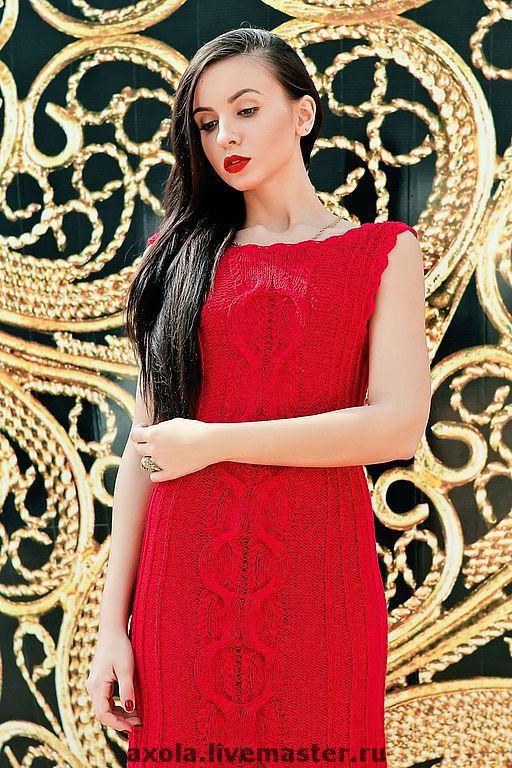 """Платья ручной работы. Ярмарка Мастеров - ручная работа. Купить Платье """"Красная роза"""". Handmade. Вязаное платье"""