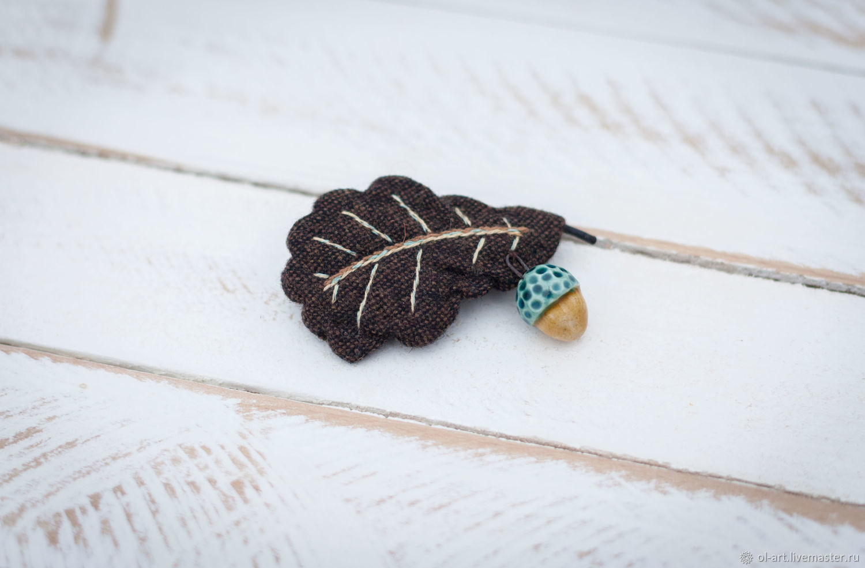 Броши Wool leaves & clay acorns, Брошь-булавка, Серпухов,  Фото №1