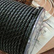 Материалы для творчества handmade. Livemaster - original item 50 cm braided leather Cord BLACK 4mm (2668). Handmade.