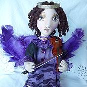 Куклы и пупсы ручной работы. Ярмарка Мастеров - ручная работа Кукла Ангел, играющий на скрипке авторская подвижная текстильная. Handmade.