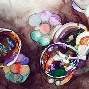 """Картины ручной работы. Ярмарка Мастеров - ручная работа Картина акварель, миниатюра, коричневый. """"Мыльные пузыри"""". Handmade."""