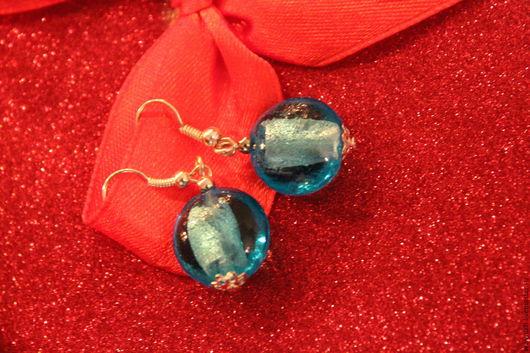Серьги из муранского стекла ручной работы, голубой
