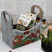 Для дома и интерьера handmade. Livemaster - original item Stand box geranium decoupage. Handmade.