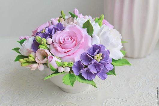 Букеты ручной работы. Ярмарка Мастеров - ручная работа. Купить Композиция с розами и гардениями. Handmade. Розовый, букет из полимерной глины