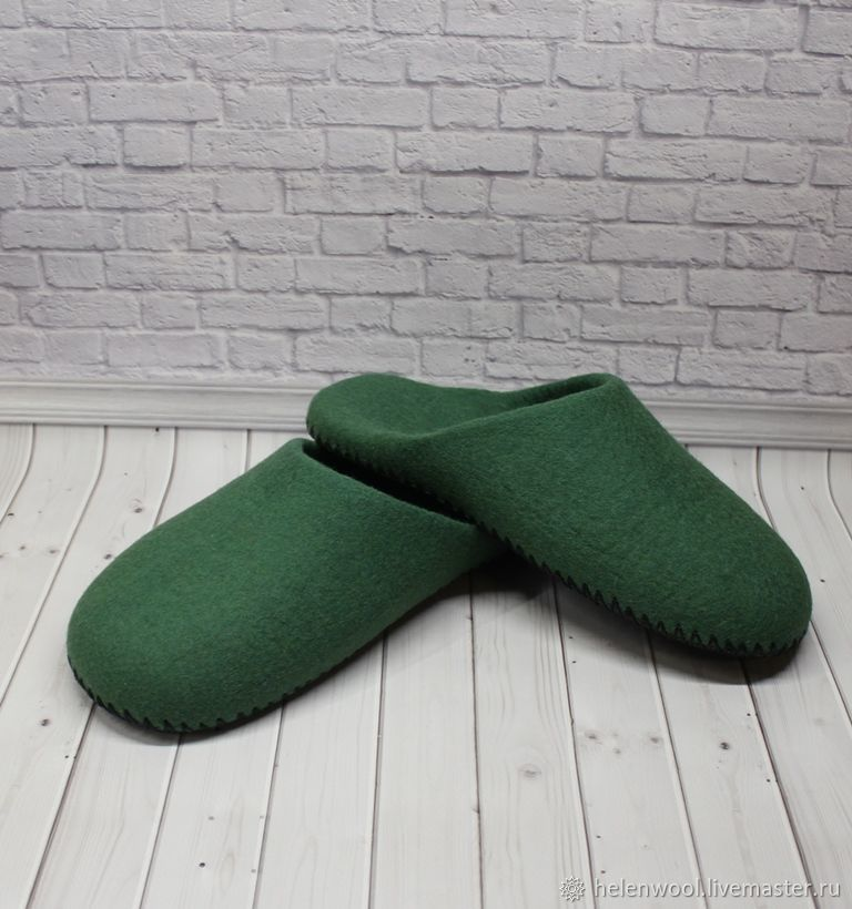 """Обувь ручной работы. Ярмарка Мастеров - ручная работа. Купить Тапочки валянные """"Без декора"""". Handmade. Зеленый, мужской подарок"""
