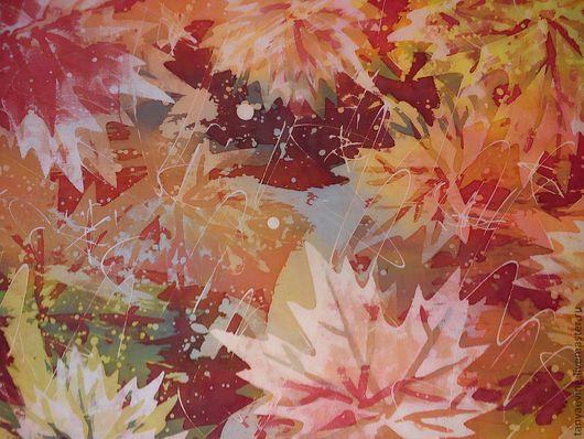 Абстракция ручной работы. Ярмарка Мастеров - ручная работа. Купить Панно  осень - батик. Handmade. Батик панно, шёлк натуральный