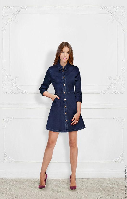 """Платья ручной работы. Ярмарка Мастеров - ручная работа. Купить Платье джинсовое  """"Jeans Style - Mini"""". Handmade. Синий, однотонный"""