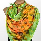 Аксессуары handmade. Livemaster - original item Large silk scarf batik predator. Handmade.