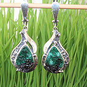 Украшения handmade. Livemaster - original item Classic Adaya earrings with malachite in 925 sterling silver HH0015-4. Handmade.