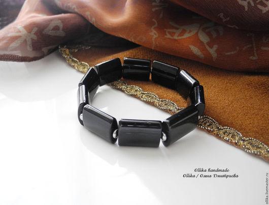 Мужской браслет  Черный - черный агат имитация, гематит, спандекс браслет на резинке, браслет для мужчины