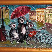 Картины и панно ручной работы. Ярмарка Мастеров - ручная работа Веселые коты (картина на стекле). Handmade.