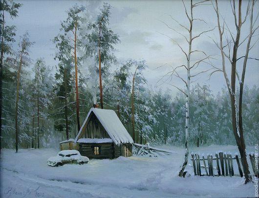 Пейзаж ручной работы. Ярмарка Мастеров - ручная работа. Купить Хутор. Handmade. Голубой, зимний пейзаж, реалистичная живопись