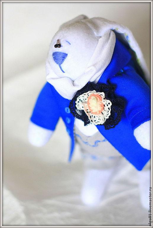 Куклы Тильды ручной работы. Ярмарка Мастеров - ручная работа. Купить Кролик в синем пиджаке. Handmade. Синий, кролики, флис