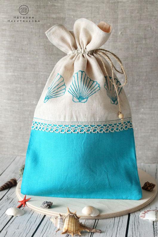 Мешочек на кухню в морском стиле. Украшен набойкой по ткани.  Набор из нескольких мешочков может стать замечательным подарком хозяйке. Также он порадует ценителей эко-стиля и здорового образа жизни.