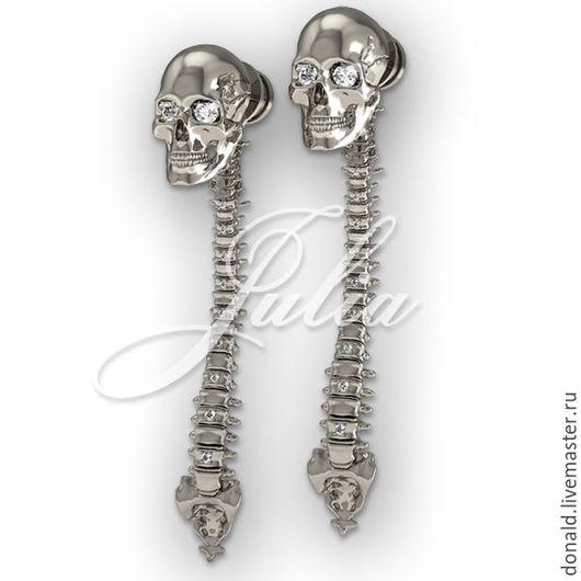 Серьги череп, хребет, скелет, кости, позвоночник