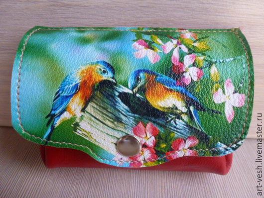 1  Кожаный кошелечек с птицами. Подарок на 8 марта.
