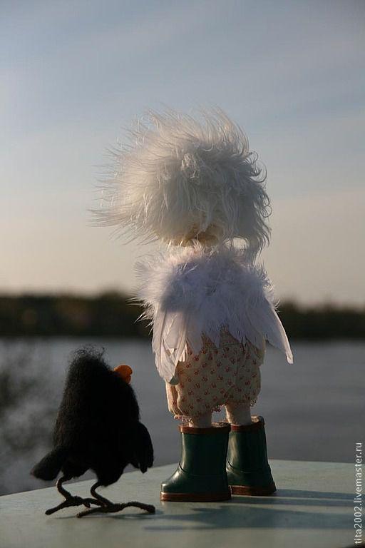 Коллекционные куклы ручной работы. Ярмарка Мастеров - ручная работа. Купить Немного об ангелах.... Handmade. Белый, ворон