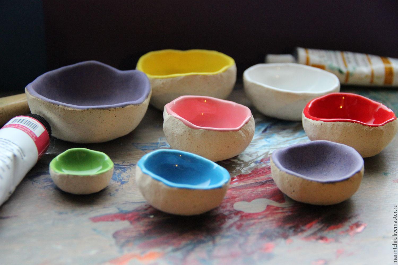 Пиалы ручной работы. Ярмарка Мастеров - ручная работа. Купить Набор пиал Палитра. Handmade. Красный, пиала, глина, цвета