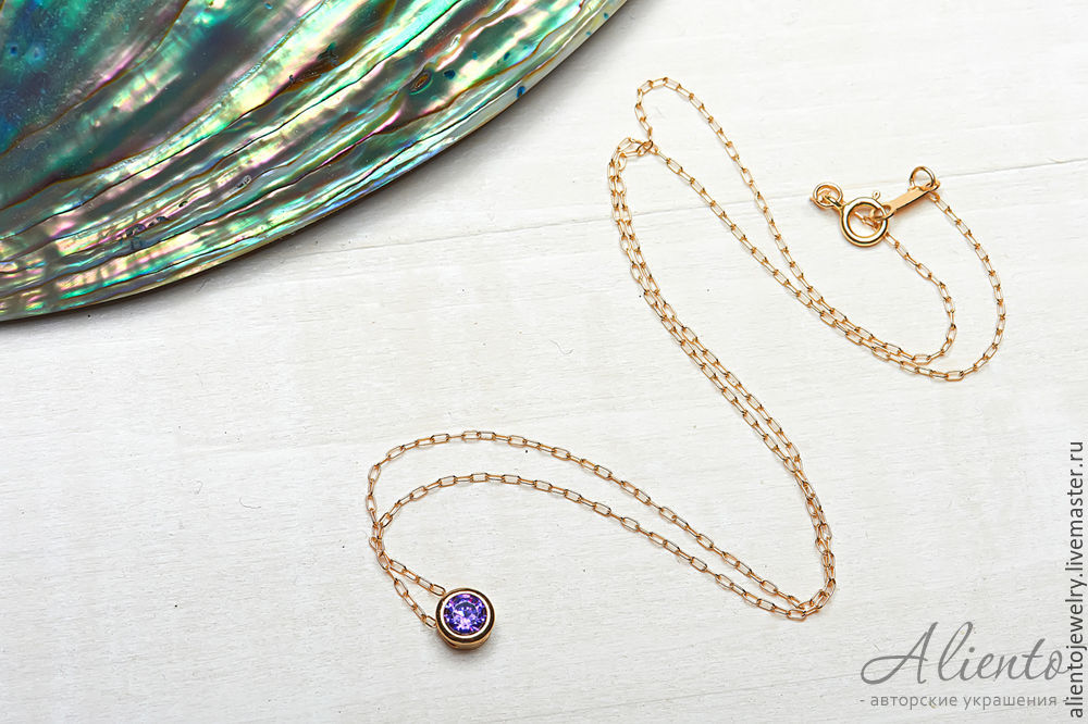 Thin necklace with purple zircon 'Conciseness', Chain, Moscow,  Фото №1