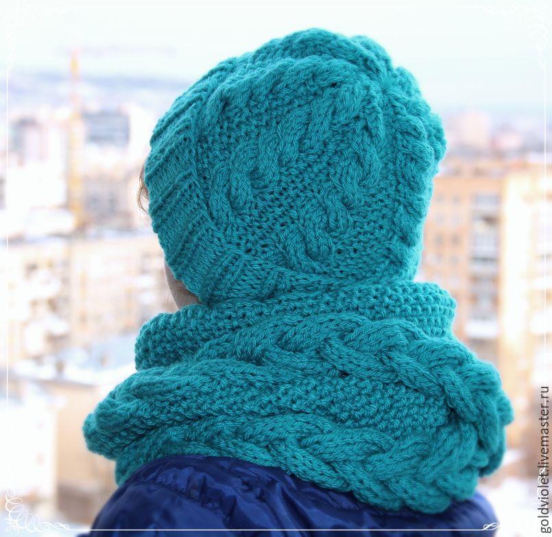 Вязание косы в шарфе