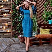 Одежда ручной работы. Ярмарка Мастеров - ручная работа Платье футляр, с открытыми плечиками и отделкой кружевами. Handmade.