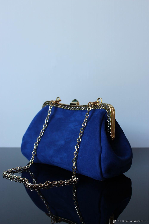 669c089bb44a Женские сумки ручной работы. Заказать Синяя вечерняя замшевая сумочка на  фермуаре.