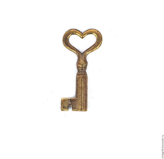 Для украшений ручной работы. Ярмарка Мастеров - ручная работа. Купить Винтажный ключ сердечник. Handmade. Золотой, ключик, для бижутерии