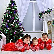 Одежда handmade. Livemaster - original item Family set in Scandinavian style (jacket and dress knitted). Handmade.